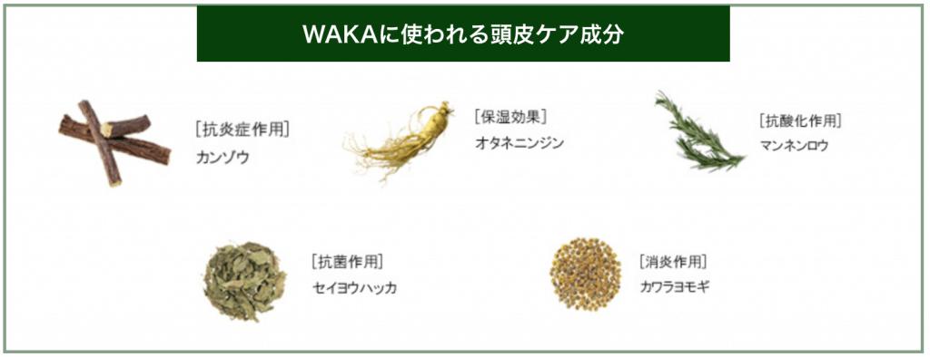 WAKAに使われている頭皮ケア成分