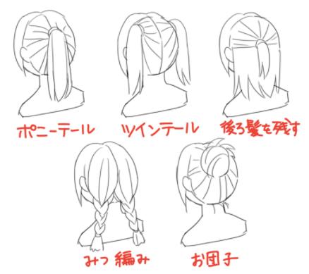 髪の結び方の例