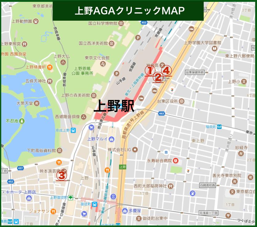 上野AGAクリニックMAP