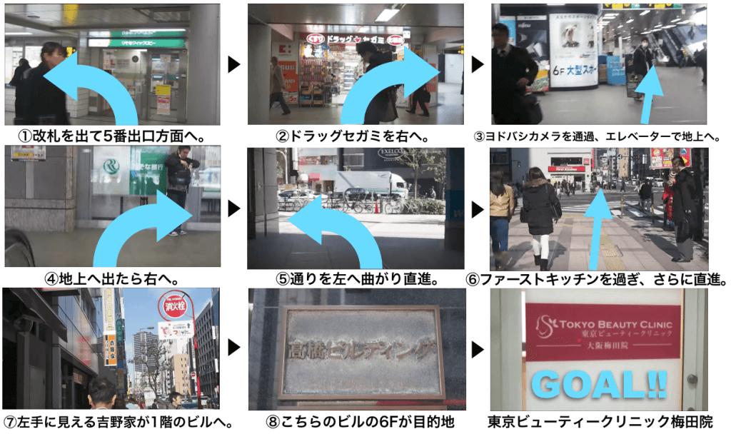 東京ビューティークリニック梅田院に迷わず辿り着くための完全MAP