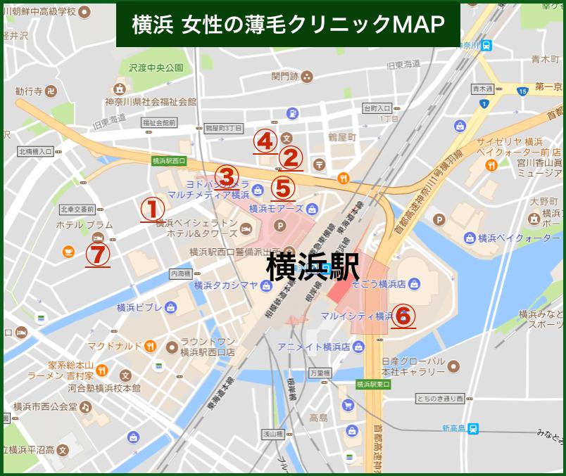 横浜女性の薄毛クリニックMAP