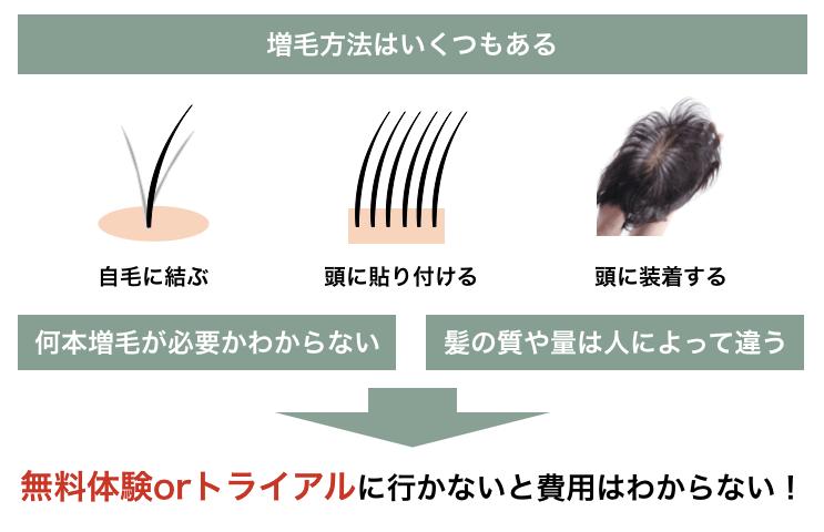 世の中にある主な3つの増毛法