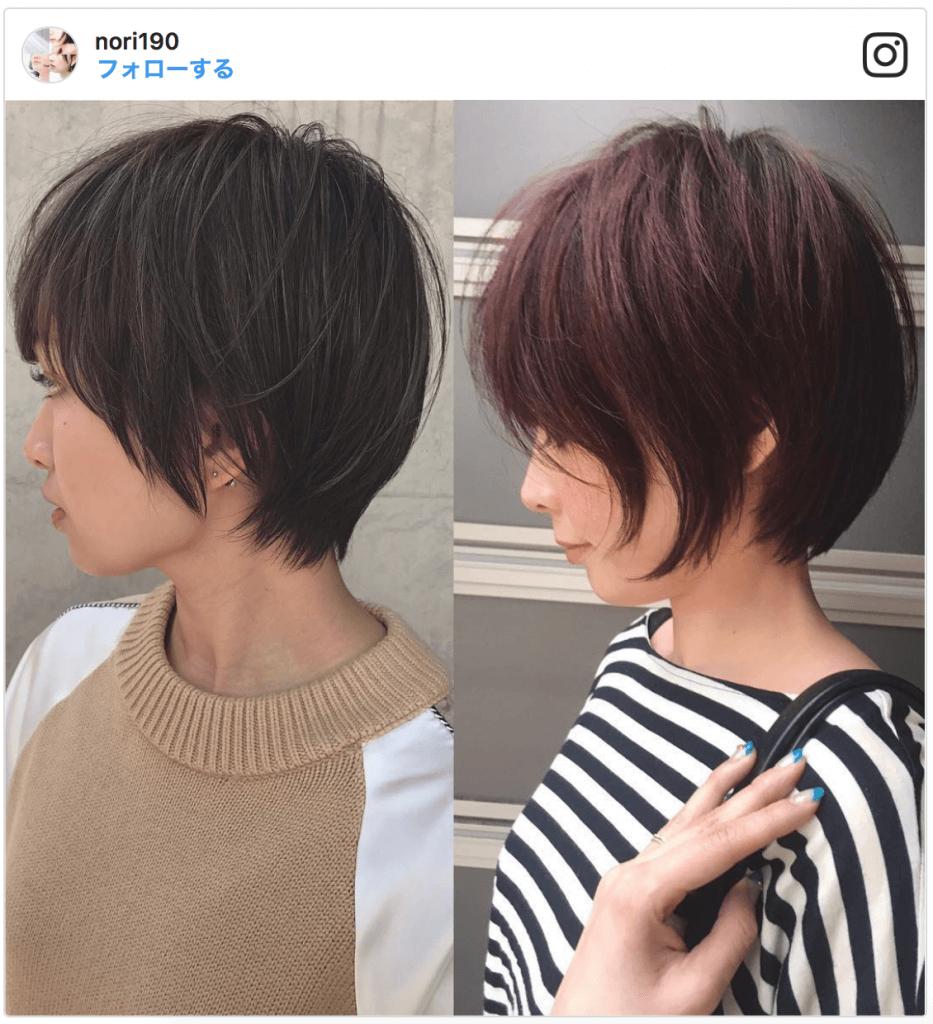 「髪を短くする」例