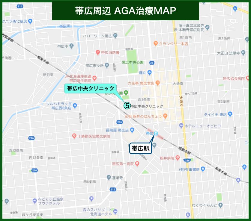 帯広周辺AGA治療MAP