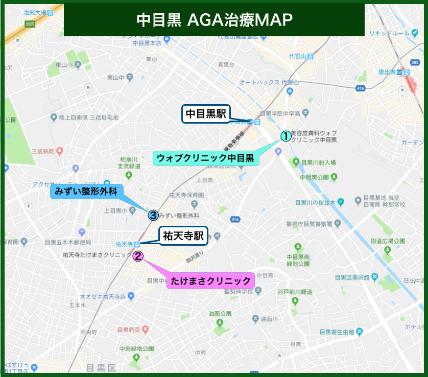 中目黒AGA治療MAP