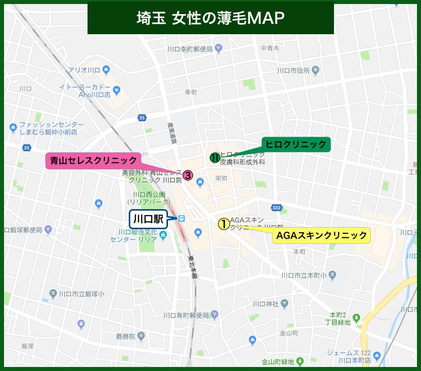 埼玉女性の薄毛MAP