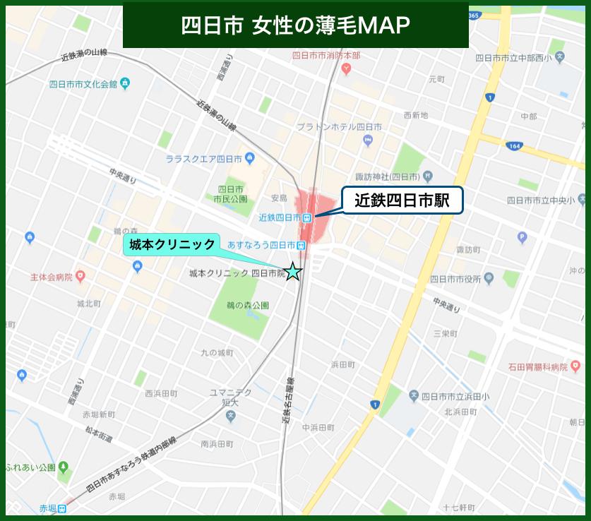 四日市女性の薄毛MAP