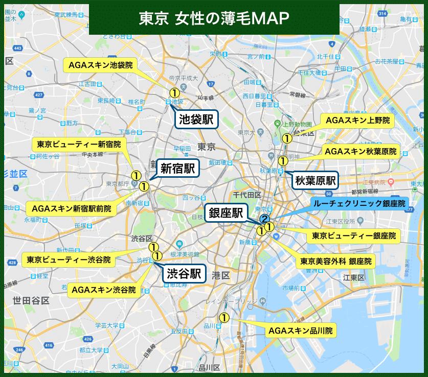 東京女性の薄毛MAP
