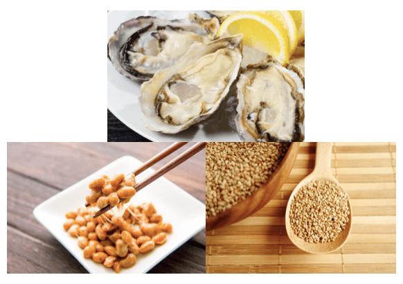 牡蠣・納豆・胡麻のイメージ
