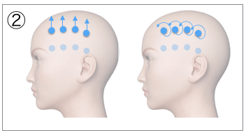 頭皮マッサージの基本動作「ステップ2」