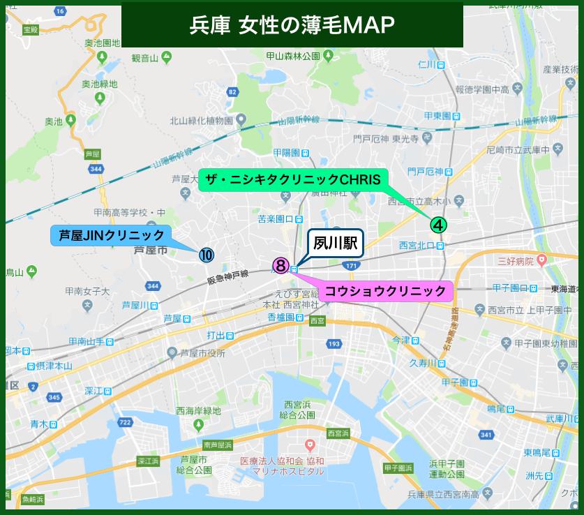 兵庫女性の薄毛MAP