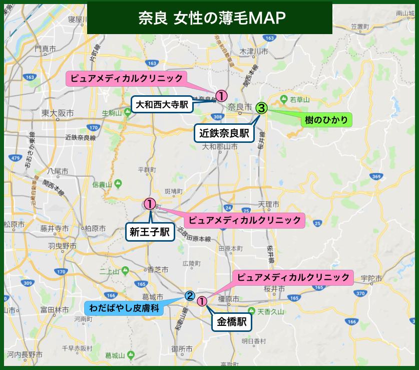 奈良女性の薄毛MAP
