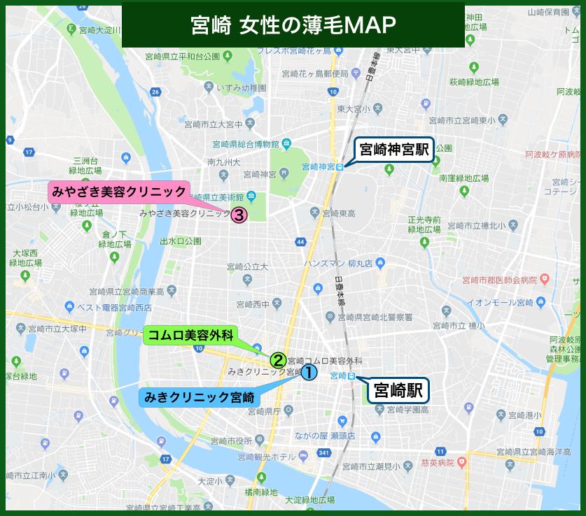 宮崎女性の薄毛MAP