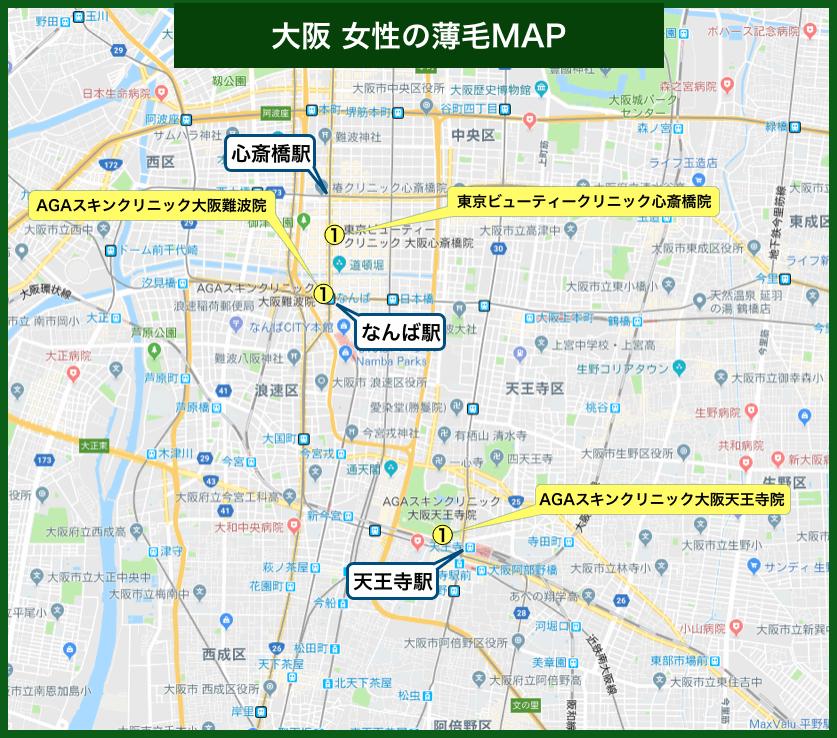 大阪女性の薄毛MAP