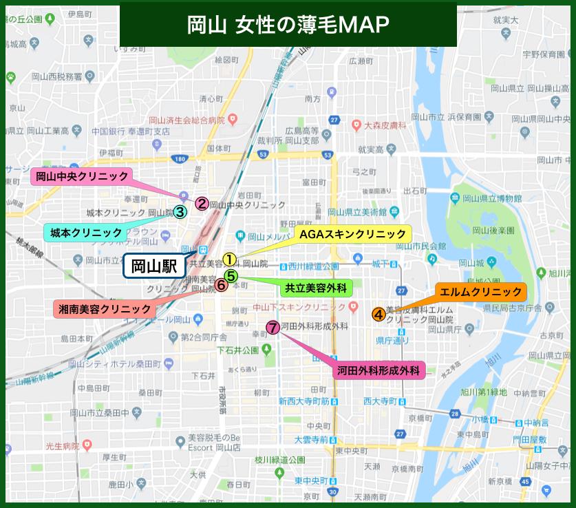 岡山女性の薄毛MAP
