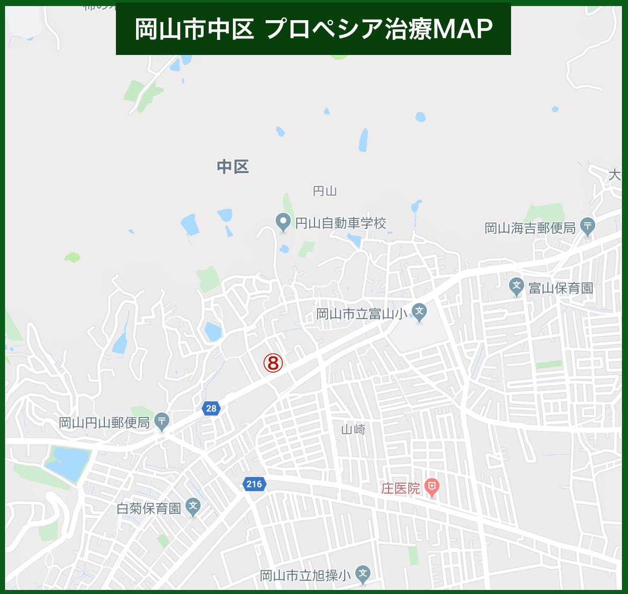 岡山市中区 プロペシア治療MAP