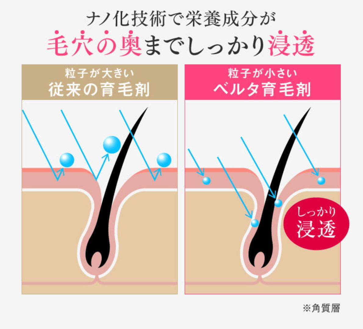 ベルタヘアローションはナノ化技術で毛穴の奥までしっかり浸透