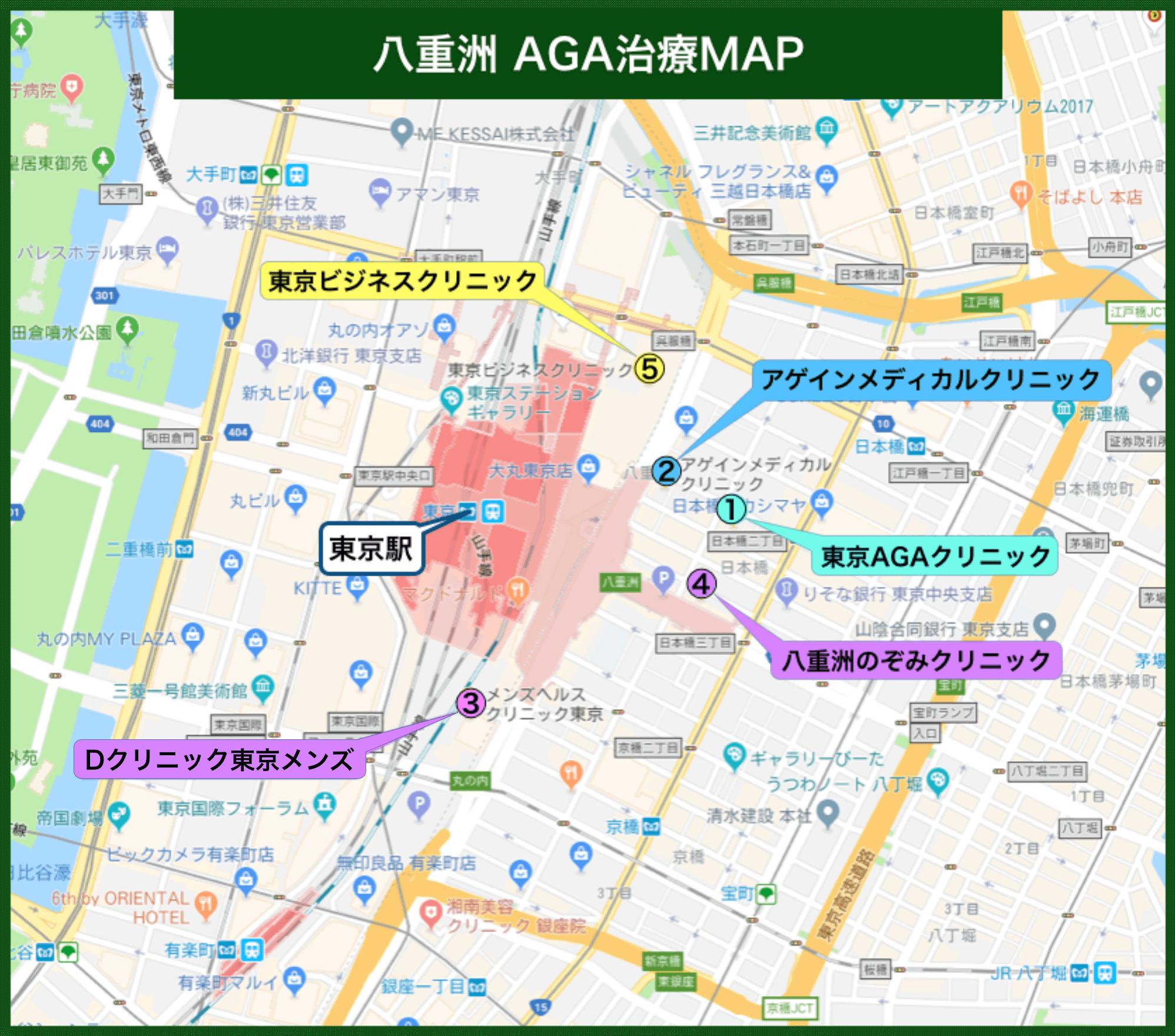 八重洲AGA治療MAP(2019年版)