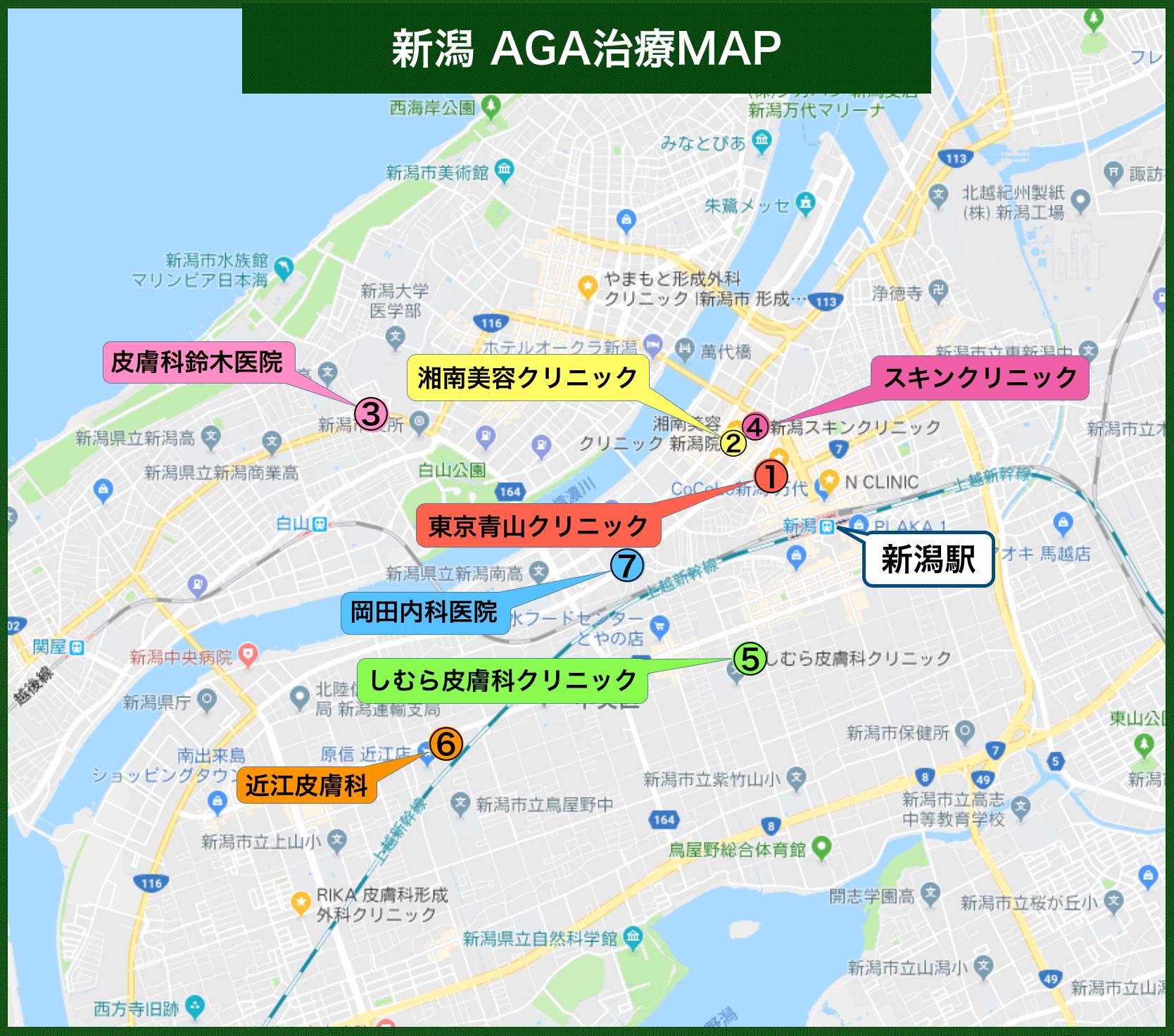 新潟AGA治療MAP(2019年11月版)