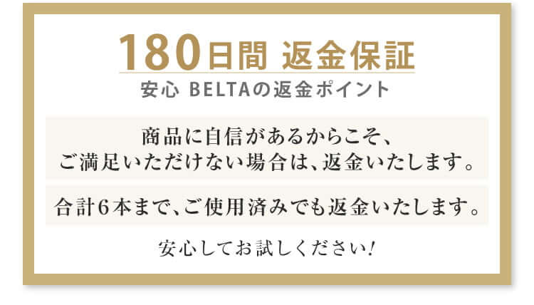 ベルタヘアローションは180日間の返金保証