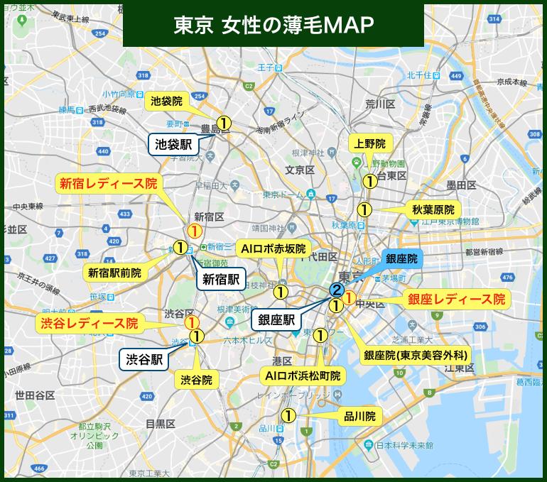 東京 女性の薄毛MAP