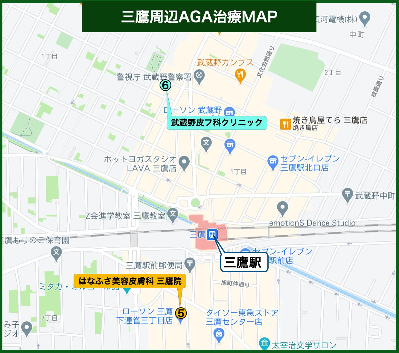 三鷹周辺AGA治療MAP