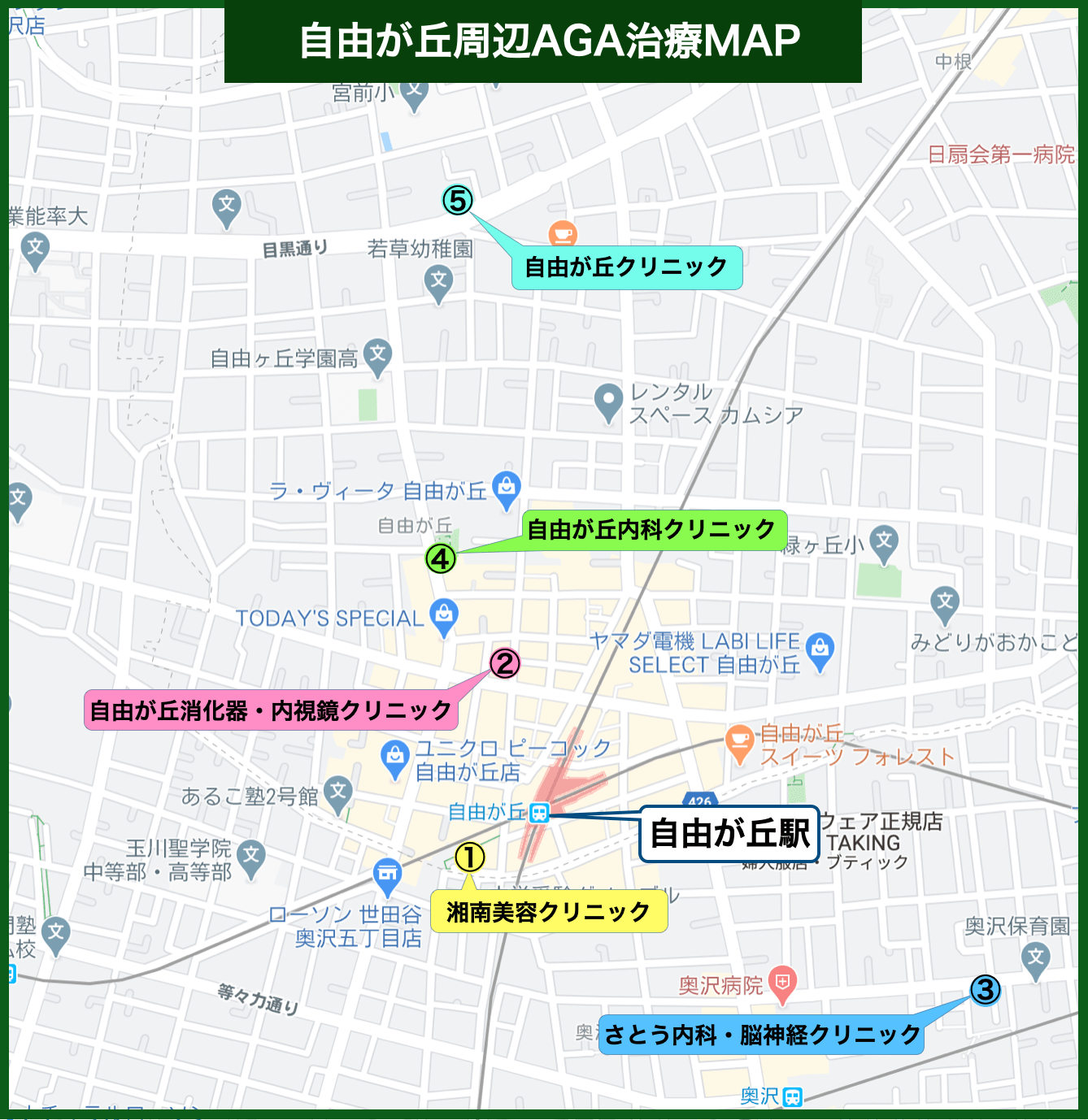 自由が丘周辺AGA治療MAP