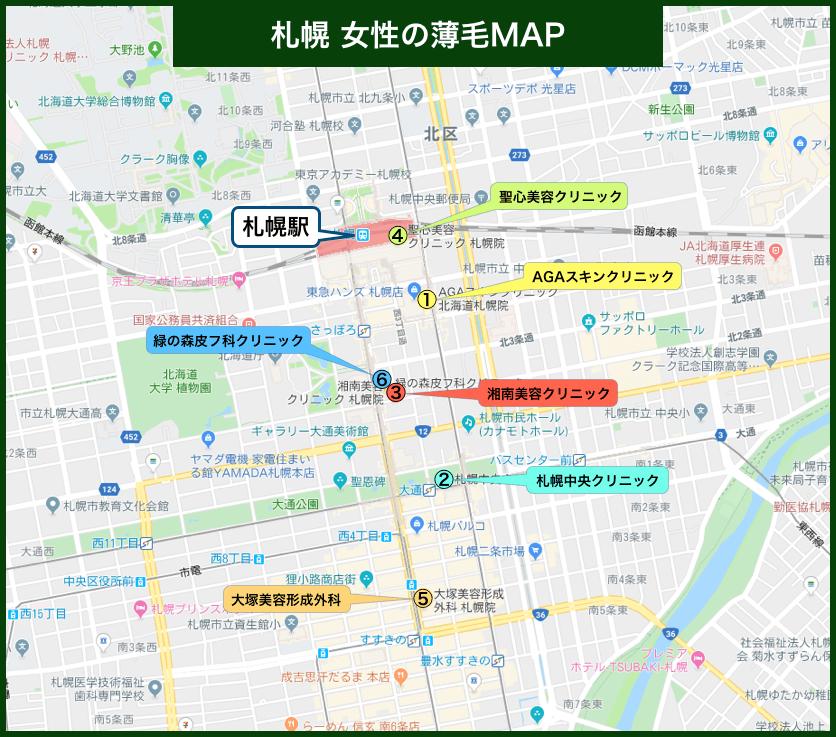 札幌 女性の薄毛MAP