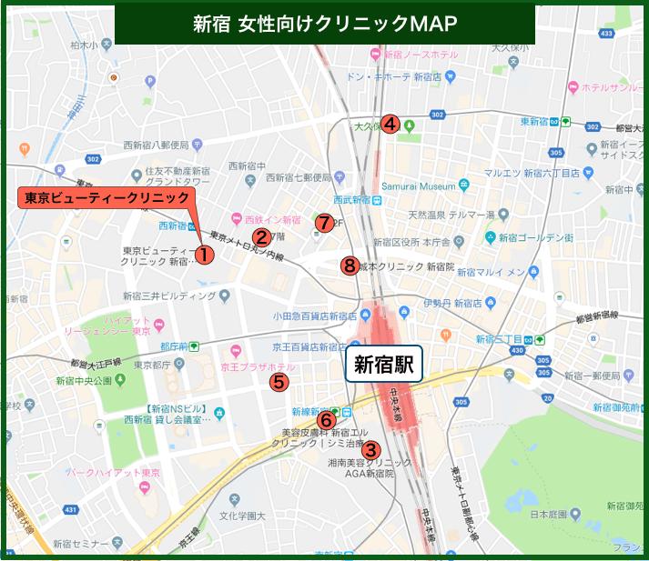 新宿の女性向けクリニックMAP