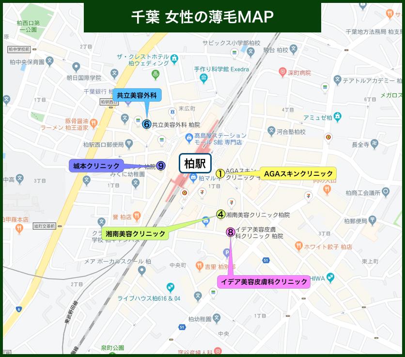 千葉 女性の薄毛MAP