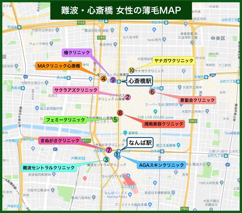 難波・心斎橋女性の薄毛MAP