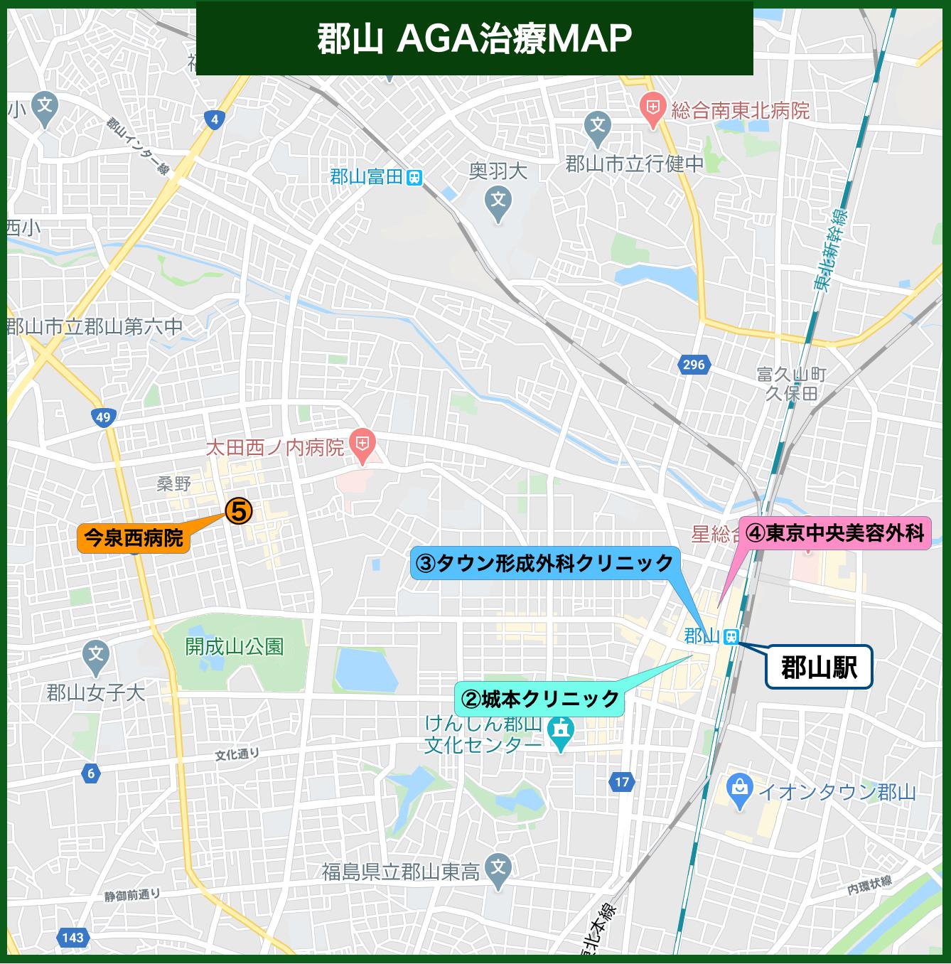 郡山 AGA治療MAP