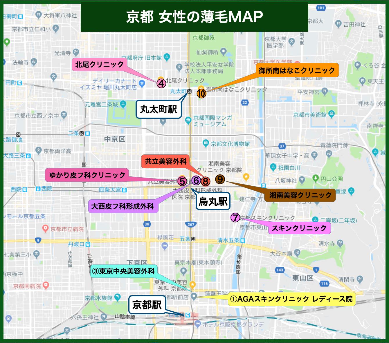 京都 女性の薄毛MAP