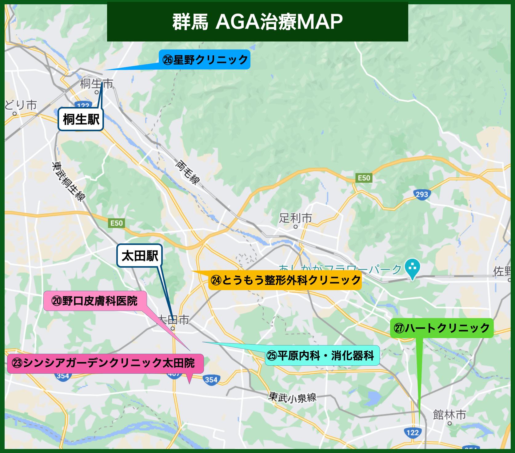 群馬のAGA治療院マップイメージ