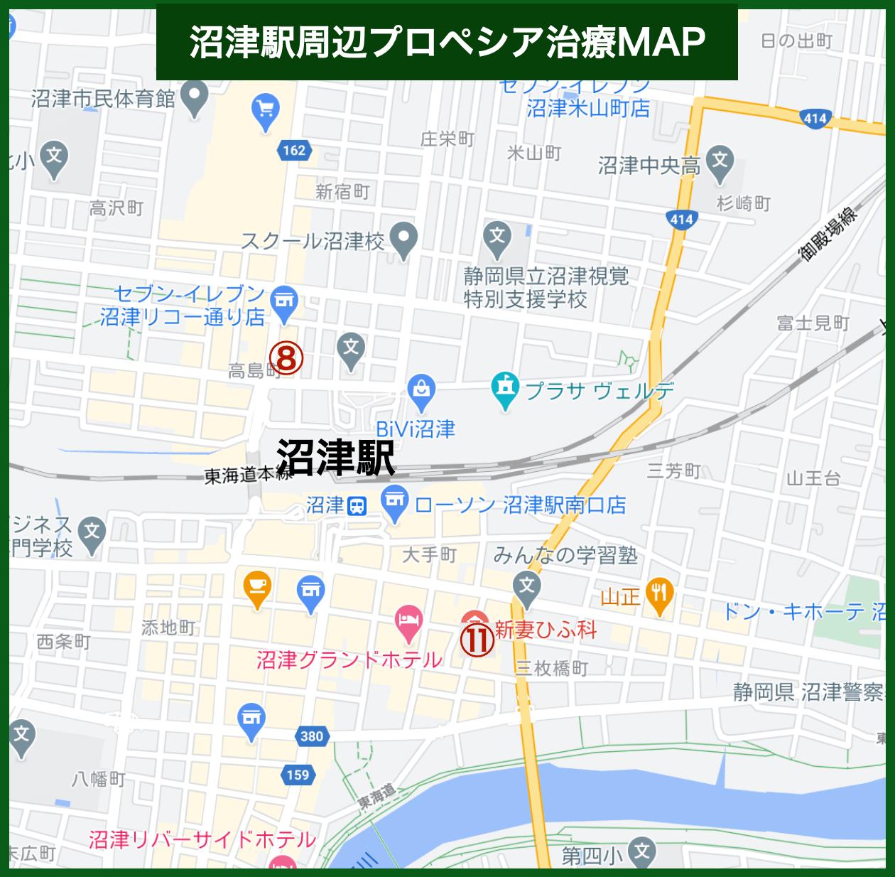 沼津駅周辺プロペシア治療MAP