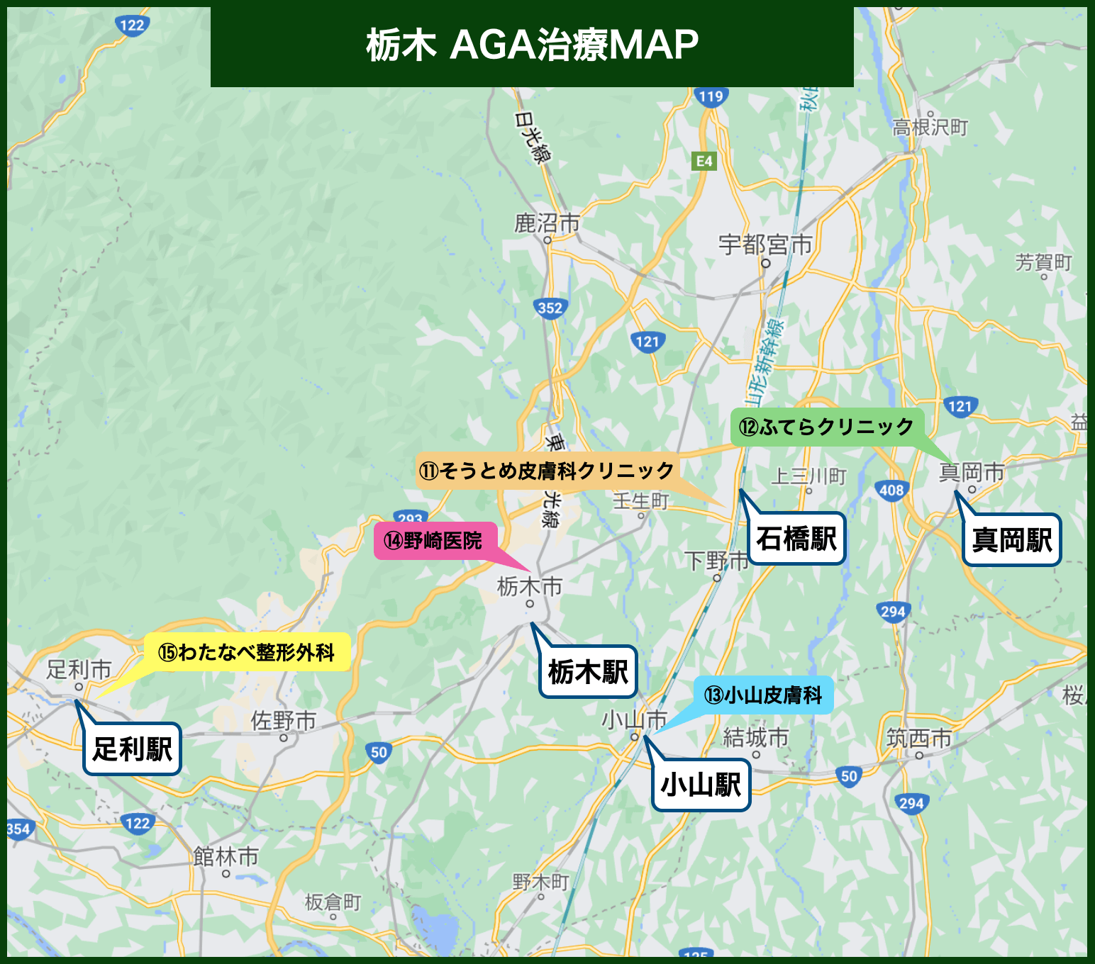 栃木 AGA治療MAP