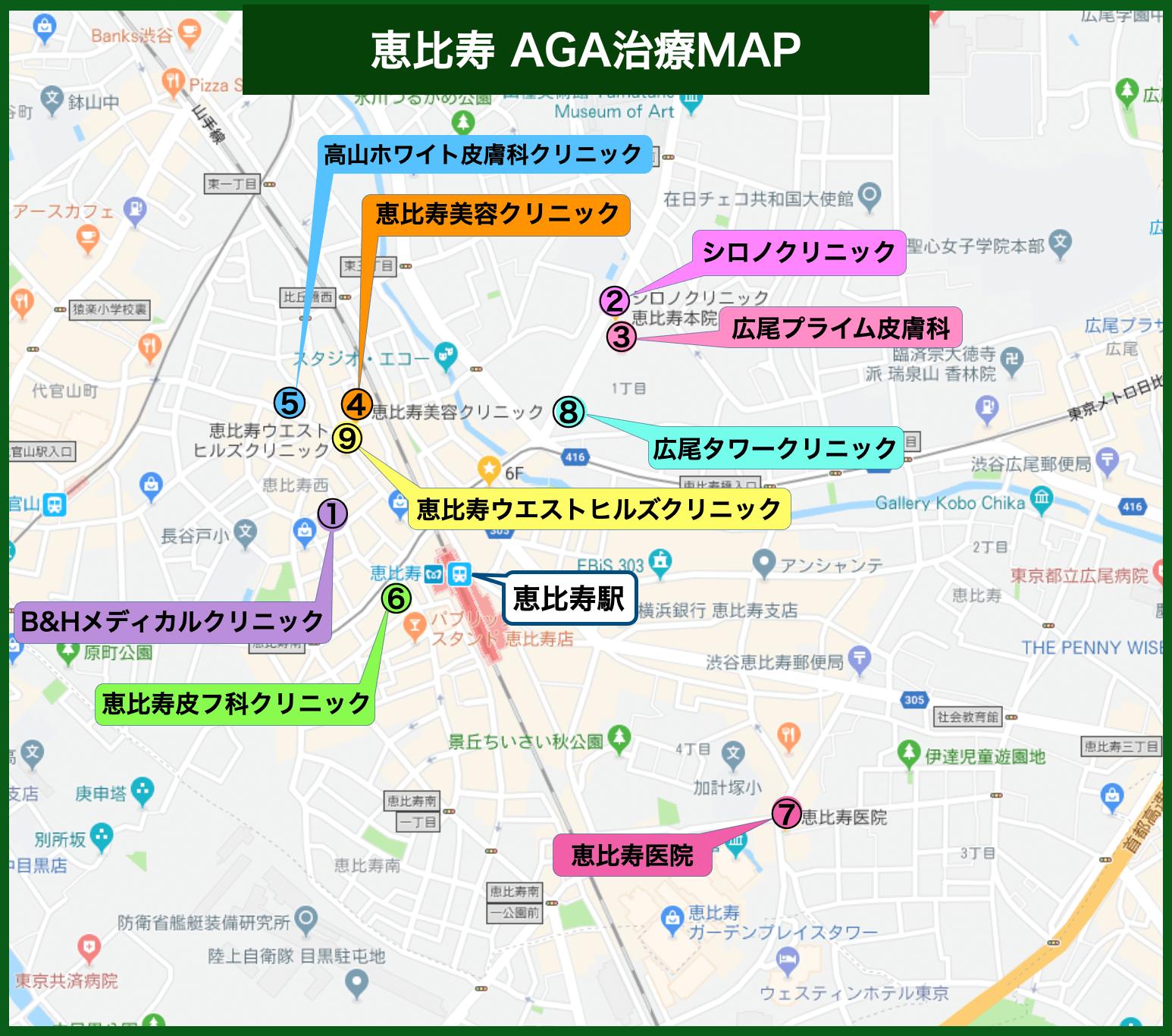 恵比寿AGA治療MAP