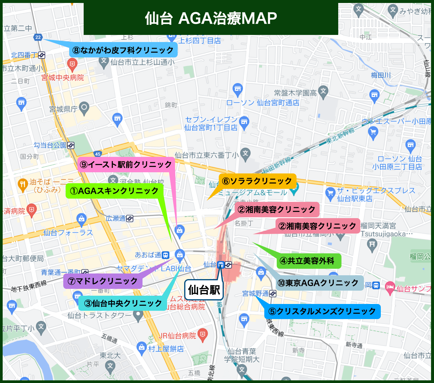 仙台AGA治療MAP