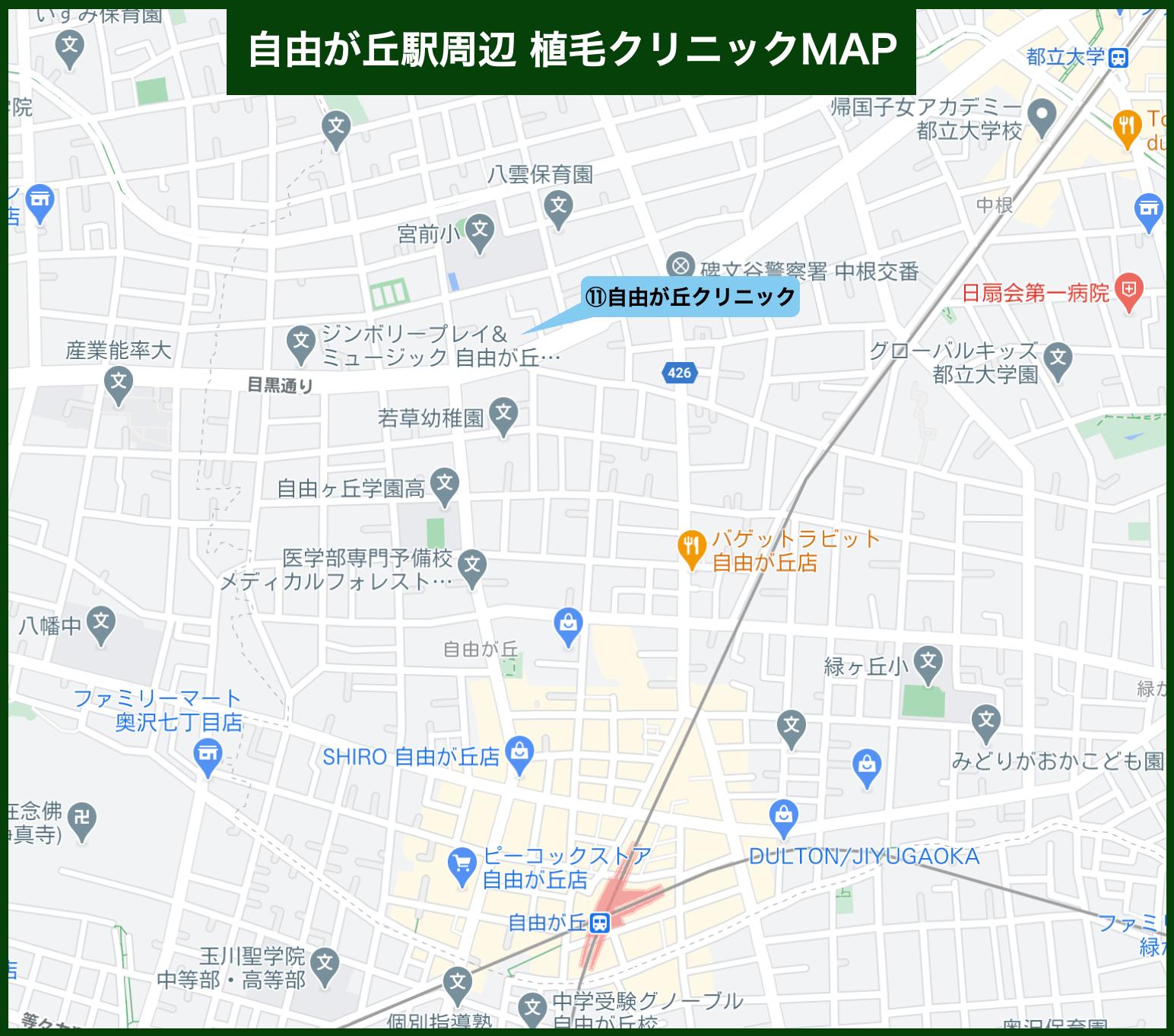 自由が丘駅周辺植毛クリニックMAP(2021年版)