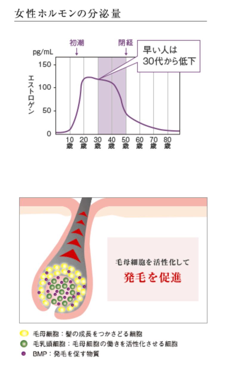 女性ホルモンの分泌量の変化